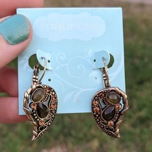 Gold Brown Amber Maurices Hook Earrings